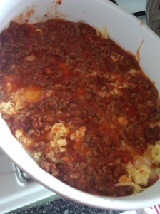 Cheese and meat sauce for the first layer.